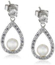 Diamonfire–Orecchini pendenti in argento Sterling 925, con zirconi, linea Bridal bianco 62/1487/1/111