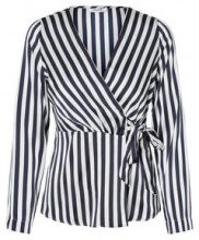 PIECES Striped Satin Blouse Women Blue