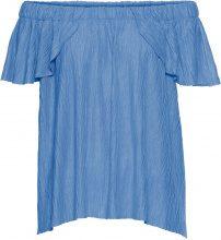 Blusa in tessuto operato con scollo a barca (Blu) - BODYFLIRT