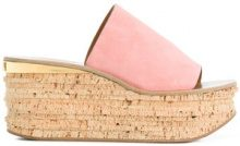 Chloé - Mules con zeppa - women - Cotton/Leather/Suede - 37.5, 36.5, 38, 38.5, 39, 39.5 - PINK & PURPLE