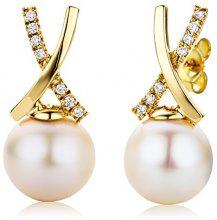 Miore Orecchini Donna  Perle di fiume  Diamanti taglio Brillante ct 1.465 Oro Giallo 18 Kt / 750