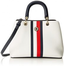 Tommy Hilfiger Th Core Satchel - Borsa Donna, Blu (Tommy Navy/Tommy Red), 15.5x23x33.5 cm (B x H T)