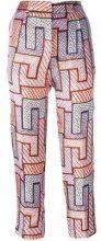 MSGM - geometric print trousers - women - Silk/Polyester - 42, 44 - PINK & PURPLE
