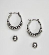 ASOS DESIGN - Confezione da 2 orecchini a cerchio e con borchie zigrinati - Argento