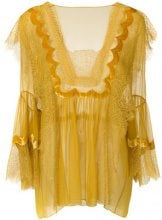 Alberta Ferretti - Blusa con inserti in pizzo - women - Silk/Polyamide/Cotone - 42, 44, 46, 48 - YELLOW & ORANGE