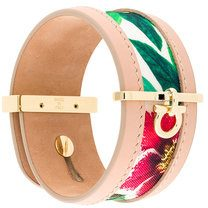 Salvatore Ferragamo - Bracciale stampato - women - Silk/Leather/Brass - OS - PINK & PURPLE