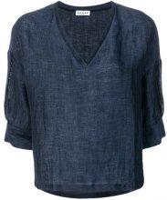 Masscob - Blusa con scollo a V - women - Linen/Flax/Polyamide - S, XL - BLUE