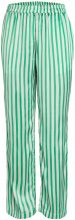 PIECES Wide Striped Satin Trousers Women Green