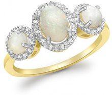 Carissima Gold Anello da Donna in Oro Giallo 9K con Opale e Diamante, Misura 18.1