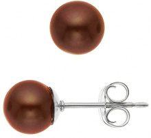 Pearls & Colors Donna 9 carati Oro bianco Rotonda Perla d'acqua dolce marrone Perla FINEEARRING