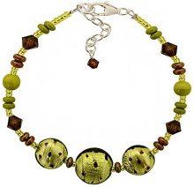 Amanti Venezia braccialetto con perle in vetro di Murano, color lime a pois, lunghezza 18,5–22,5cm