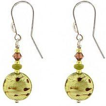 Amanti Venezia, orecchini eccentrici a goccia, in vetro di Murano, color lime