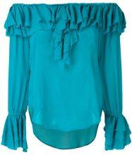 Twin-Set - Blusa con spalle scoperte e balza - women - Viscose - 44, 42, 46, 38, 40, 48 - BLUE