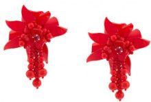 Oscar de la Renta - Orecchini a clip - women - Silk/plastic/metal/glass - OS - RED