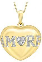 Carissima Gold Collana con Pendente da Donna in Oro Giallo, Bianco 9K (375) con Diamante 0.026ct, 46 cm