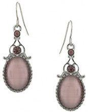 1928 Jewelry-Orecchini ametista, argento, colore: viola con cristalli e occhi di gatto, Orecchini con pendente ovale