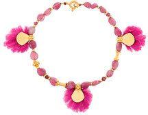 Katerina Makriyianni - tourmaline bracelet - women - Wool/24kt Gold - OS - Rosa & viola