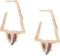 Niza Huang - Orecchini 'Delta Stone' - women - Rose Gold Plated Sterling Silver/quartz - OS - PINK & PURPLE