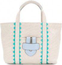 Tila March - Borsa tote 'Simple Bag S ZigZag' - women - Cotton/Calf Leather - OS - NUDE & NEUTRALS