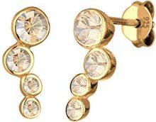 Elli Orecchini a Perno da Donna in Argento 925, Placcati Oro con Cristallo Rotonda