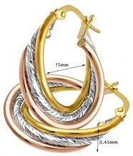 Citerna Orecchini a Cerchio da Donna, Oro Tricolore 9 carati 375, Semplice