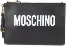 Moschino - pochette grande con logo - women - Leather - One Size - Nero