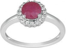 Jewelili Donna  9 carati  oro bianco Rotonda   rosso Rubino Topazio FASHIONRING