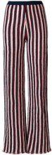 - Aviù - striped wide leg trousers - women - fibra sintetica/cotone/metallo - 42 - di colore blu