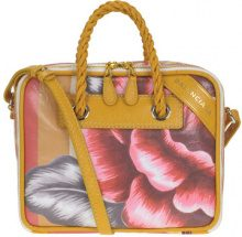 Borsa in pelle stampa floreale