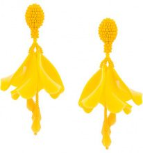 Oscar de la Renta - Orecchini 'Impatiens' - women - Plastic/glass/Brass/Viscose - OS - YELLOW & ORANGE