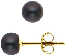 Pearls & Colors Donna 9 carati Oro giallo Rotonda Perla d'acqua dolce nero Perla FINEOTHER