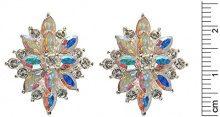 Cristalina-Bracciale placcato argento, con cristalli Swarovski, Aurora Borealis Starbust, con ciondolo a grappolo con collana e orecchini