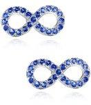 Orecchini Donna, sfioro con zirconia cubica, Orecchini a perno (blu)