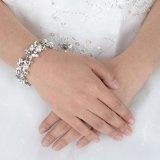 Ever Faith Austriaco di cristallo simulato della perla del fiore Bracciale nuziale silver-tone trasparente N04335-2