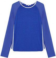 FIND Sheer Sleeve Maglia a Maniche Lunghe Donna, Blu (Dazzling Blue/Ivory), 40 (Taglia Produttore: X-Small)