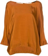 Roberto Collina - Blusa con girocollo - women - Cupro/Viscose - XS, S, M - YELLOW & ORANGE