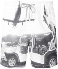 Mc2 Saint Barth - Costume da bagno con cordoncino con motivo stampato - men - Polyamide/Spandex/Elastane/Polyester - L - WHITE