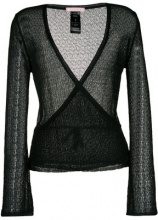 Kristina Ti - open knit wrap cardigan - women - Polyamide/Viscose - S, M, L, XL - BLACK