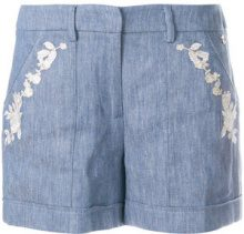 Twin-Set - Shorts ricamati - women - Cotton/Linen/Flax/Polyester - 42 - BLUE