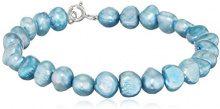 Kimura Pearls Donna  925  argento Ovale Semi-barocco perla cinesa da coltivazione blu Perla
