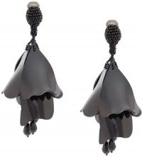 Oscar de la Renta - floral drop earrings - women - Plastic/Crystal/Brass - OS - Nero