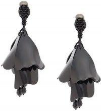 Oscar de la Renta - floral drop earrings - women - Plastic/Crystal/Brass - OS - BLACK