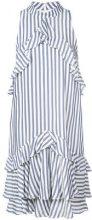 Nicole Miller - striped ruffle dress - women - Polyester/Viscose - M - BLUE