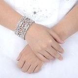 Ever Faith Silver-tone di modo del cuore nuziale di cristallo austriaco braccialetto di stirata Cancella N04581-1