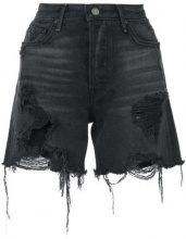 Grlfrnd - frayed denim shorts - women - Cotone - 24, 27 - Nero
