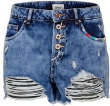 ONLY Destroyed Denim Shorts Women Blue