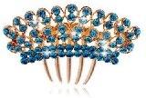 Pettine per capelli, effetto lucido, colore: turchese blu, accessori per matrimoni, HA172