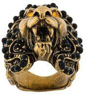 Gucci - Anello testa di leone - women - glass/Brass - XS, M, XL, S - METALLIC