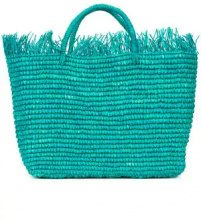Sensi Studio - woven frayed hem tote - women - Straw - OS - GREEN