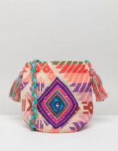 America & Beyond - Borsa a tracolla in jacquard decorata con nappe - Multicolore